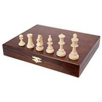 Scacchi in legno da torneo con elegante scatola in legno