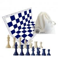 Scacchi da torneo in plastica colorati completi di scacchiera