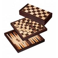 Scacchi Dama Backgammon in legno magnetico e pieghevole 280 x 140 mm