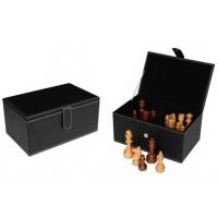 Scatola contenitore in eco pelle nera per gli scacchi
